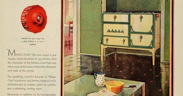 1930 Ad Magic Chef Kitchen Lorain Gas Stove Jonquil