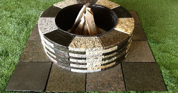 Granite Fire Place Would Be Good With Holes In The Side For Ventilation Fire Pit Kit Granite Fire Pit Paver Fire Pit