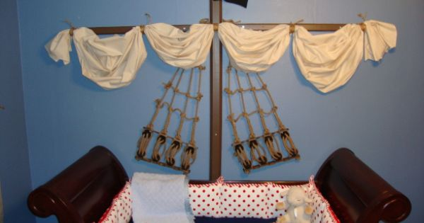 Baby boy pirate nursery, I love the wall not the crib.