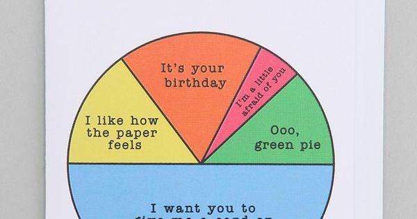 Pie Chart Birthday Card Urbanoutfitters The Fun Stuff