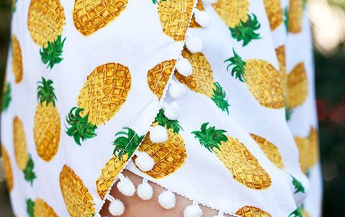 Pineapple pom pom shorts fashion style
