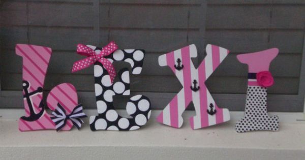 Hand Painted Personalized Wooden Letters Pink, Navy, And
