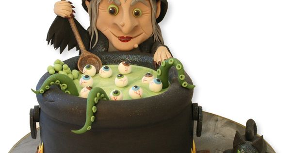 Witch Brewing Her Potion Halloween Cake.