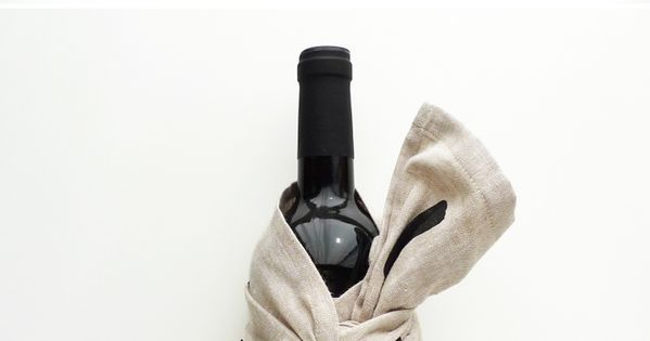 Tea Towel Gift Wrapping Wine Bottle Hostess Gift