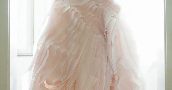 A pretty pink wedding dress: http://www.stylemepretty.com/2012/02/28/bald-head-island-wedding-by-harwell-photography/ | Photography: Harwell - http://harwellphotography.com/