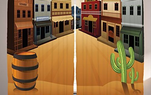 Ambesonne Saloon Decor Collection Cartoon Illustration Of Old Western Town Shops Store Street Old Style Structure Old Western Towns Old West Town Saloon Decor