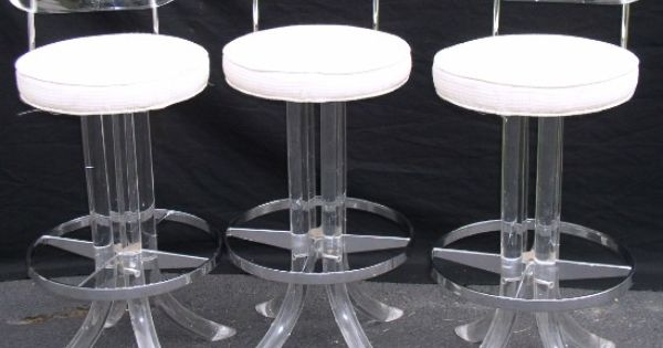 Lucite and chrome bar stools lucite lacquer aluminum for Perspex canape trays