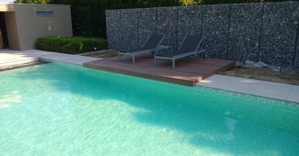 Zwembad met alkorplan 3000 byzance grijs solarafdekking met ligplaat en hoektrap dit bad - Zwembad betegeld grijs ...