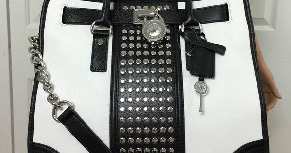 Michael Kors Hamilton Center Stripe Studded Large Leather Tote Purse Black White