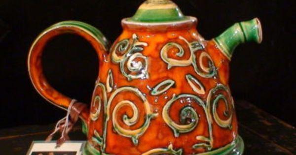 Unique Bulgarian Pottery Teapot Whimsical Orange Green Tea Pots Pottery Teapots Tea Pot Set