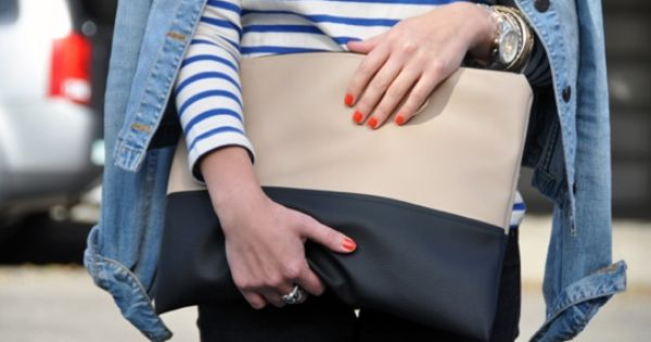 colorblock bag, striped tee, orange nail polish