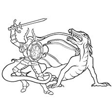 Dragon And The Knight Fighting Image To Color Dragon Coloring Page Lego Coloring Pages Peacock Coloring Pages