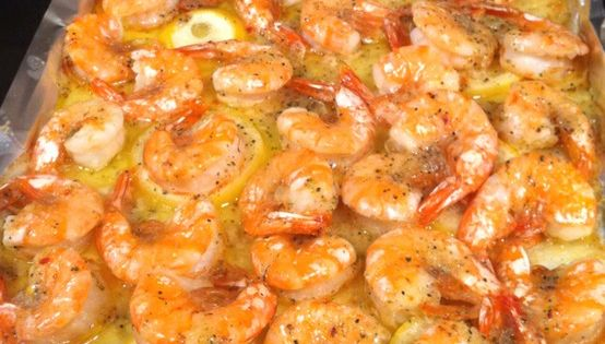 Baked Shrimp :) Melt a stick of butter in the pan (I