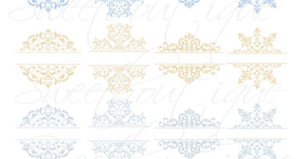 16 Blue Beige Vintage Clipart Calligraphy Clip Art
