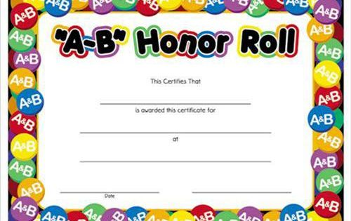 A B Honor Roll Award Certificates 8 1 2 X 11 Honor