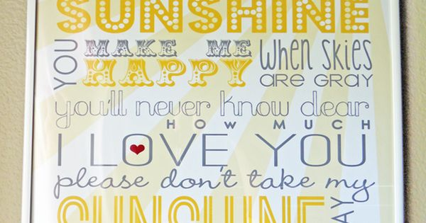 Love the sunshine song!!! Free Sunshine Printable