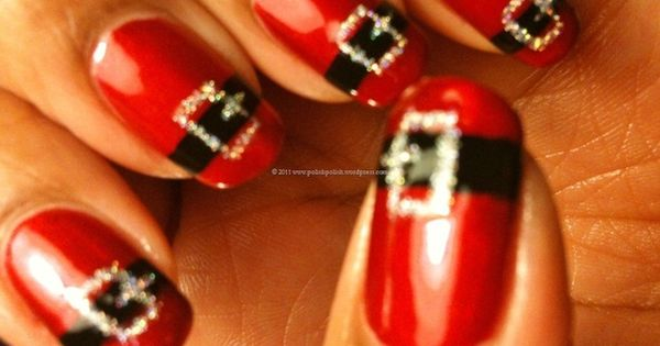 Cute christmas nail design. Santa Nails