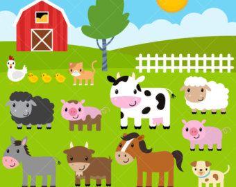 Farm Baby Animals Clipart Cute Animal Clipart Barnyard Etsy In 2020 Cute Animal Clipart Animal Clipart Barnyard Animals