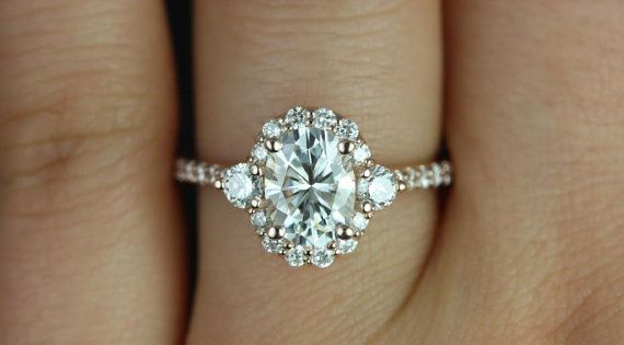 Bridgette 14kt Rose Gold Oval FB Moissanite and by RosadosBox