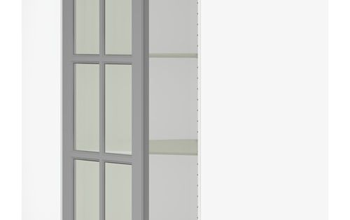 SEKTION Corner wall cabinet with glass door, white, Bodbyn gray