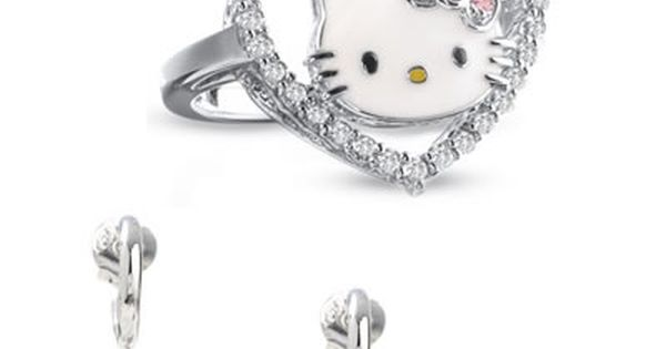 Little Girls Kitty Cat Earring And Necklace