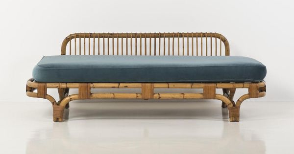 Day Bed Bamboo Wicker And Velvet Creation Date 1950