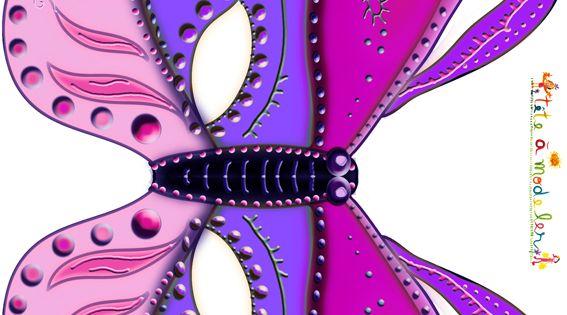 Paper toy masque papillon en rose et violet t te modeler masque papillon masque et papillon - Masque papillon carnaval ...