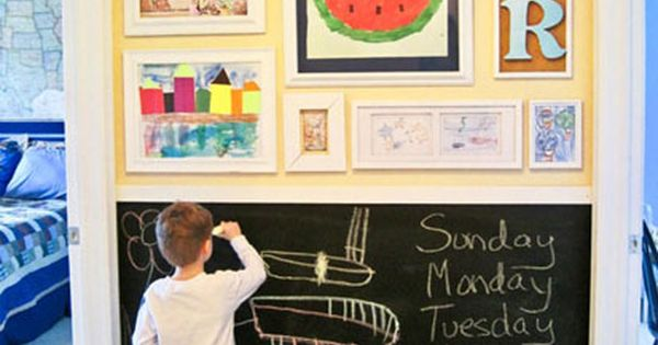 Love this idea for a play room. Frame kids art and a