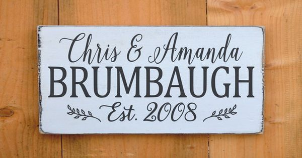 Personalized Family Name Sign Wedding Gift Couple