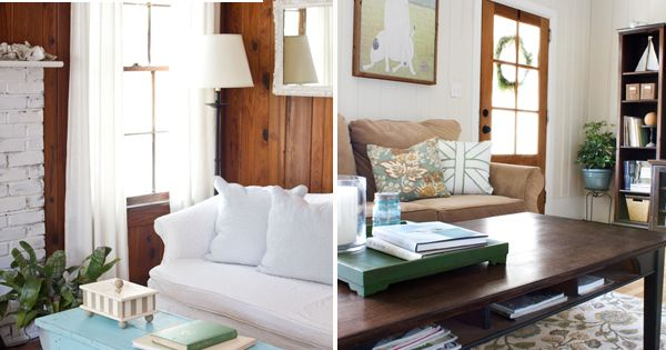 look at the wood paneling w/ white slipcover & whitewashed bricks. -