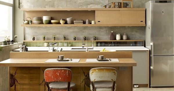 Rejuvenation Cool Stools: salvaged stools looking great in this loft kitchen