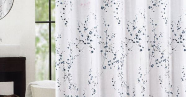 Tahari Cotton Blend Shower Curtain Sprigs Leaves Blue Silver Bathroom Style