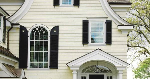 Pale Yellow House Black Shutters Client New Canaan