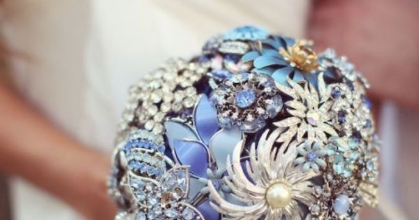 Brooch Bouquet #somethingblue #wedding #fashion #flowers