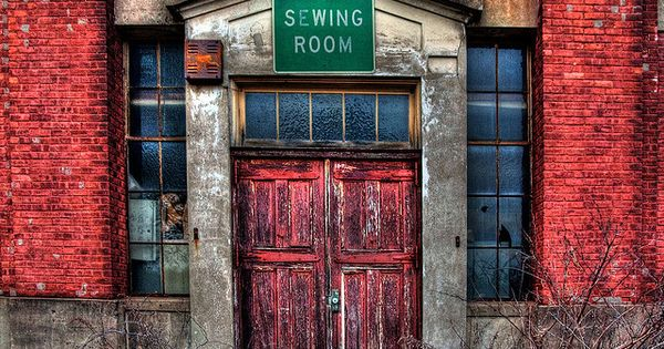 sewing room: red doors