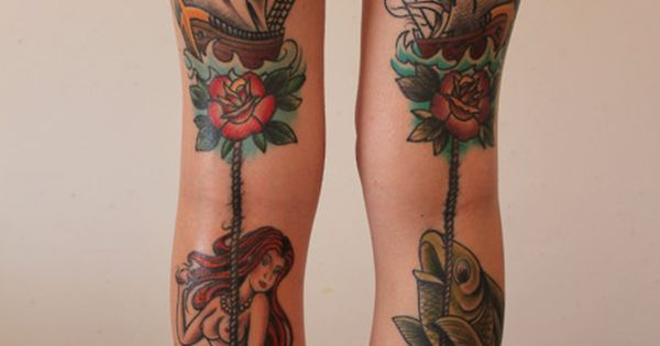 gorgeous nautical, American traditional tattoo legs