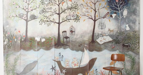Enchanted forest wallpaper mural by rebecca rebouche for for Anthropologie mural