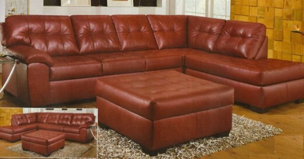 2 Pc Simmons Hazel Collection Red Bonded Leather Sectional Sofa