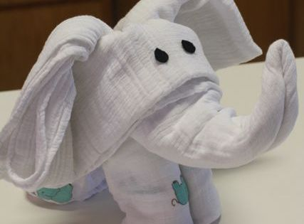 DIY Turn Swaddling Blankets into an Elephant - I like this more