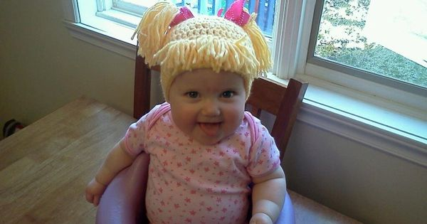 Hilarious!!! Cabbage Patch Knit Hat with fringe and pigtails for my knitty