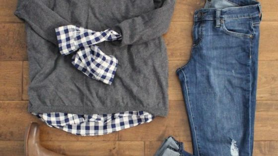 love everthing....... WOULDN'T ROLL UP THE JEANS, THOUGH. navy gingham shirt under