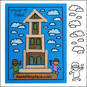 Tower Of Babel Crafts Stick Activity Sheet From Www Daniellesplace