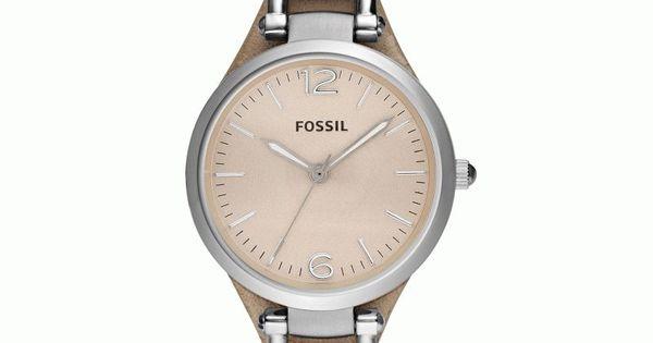 montre fossil femme quartz bo tier rond acier fond beige bracelet cuir beige tendance. Black Bedroom Furniture Sets. Home Design Ideas