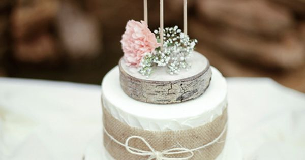 Brides: Two-Tiered Cake with Burlap Ribbon. For a rustic bash, The Crown