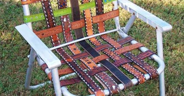 Salvage a lawn chair with leather belts decoraci n for Sillas para viejitos