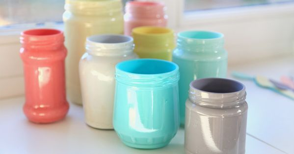 DIY painted glass jars - love the colours