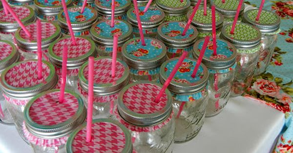 Mason jars with cupcake liners... keeps the bugs out of your summer