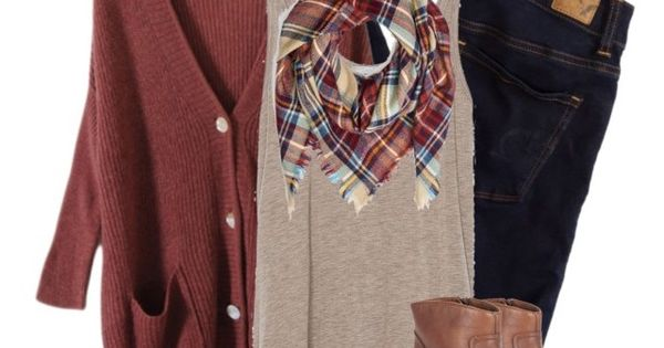Quot Oversized Rust Cardigan Amp Plaid Blanket Scarf Quot By