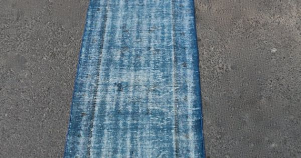 Turkish Anatolian Hand Made Carpet Long Blue Runner By