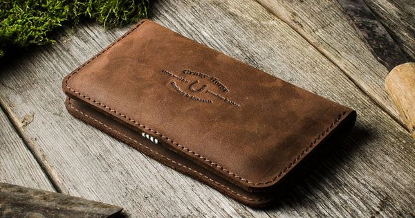 Leather Double Iphone Wallet Case Wood Brown Iphone